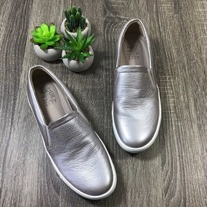 Naturalizer | Silver Slip On Leather Sneakers